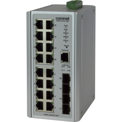 Example of All Gigabit Managed Ethernet Switch with (16) 10/100/1000TX + (4) 100/1000FX SFP* Ports