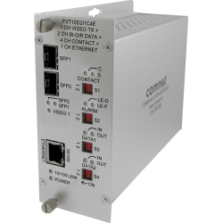Example of 10-bit Digitally Encoded Video + 2 Bi-directional Data + Aiphone™ Intercom + 4 Contact Closure + 100Mbps Ethernet + Redundant Point-to-Point Dual SFP Optical Ports