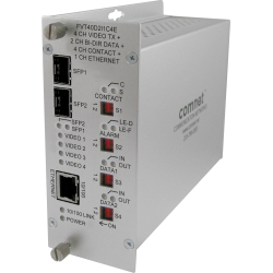 Example of 4 10-bit Digitally Encoded Video + 2 Bi-directional Data + Aiphone™ Intercom + 4 Contact Closure + 100 Mbps Ethernet + Redundant Point-to-Point Dual SFP Optical Ports
