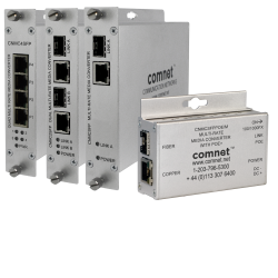 Example of 10/100/1000 Mbps Ethernet Media Converters with 100FX and 1000FX Support + Optional Power over Ethernet (PoE)