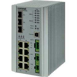 Example of Environmentally Hardened Managed Layer 2+ Ethernet Switch 3 SFP* + 8 Electrical Ports with Optional 30 or 60 Watt PoE