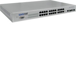 Example of Environmentally Hardened Managed Ethernet Switch with (24) 10/100TX + (2) 10/100/1000TX / 1000FX RJ45 or 1000FX SFP Ports