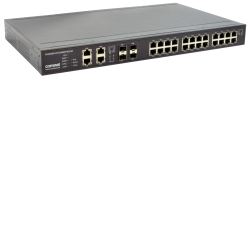 Example of Layer 2 Industrially Hardened Managed Ethernet Switch All Gigabit 24 TX with PoE+ and 4 SFP FX