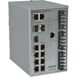 Example of Electrical Substation-Rated Managed Ethernet Switch, with (7) 10/100T(X) + (3) Configurable 10/100/1000T(X)/100/1000FX Ports