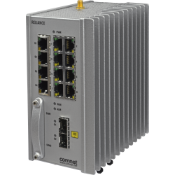 Example of Substation-Rated, Enhanced Security SCADA-Aware Ethernet Layer 2 Managed Switch/Layer 3 Router With Optional 2G/3G & 4G LTE Cellular Radio Link, Enhanced Network Security, Terminal Server, PoE+, and 100FX SFP Ports