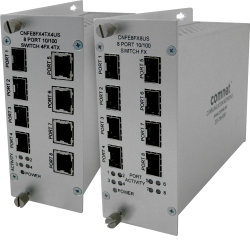 Example of 10/100 Mbps Ethernet 8 Port Unmanaged Switches 4 × Electrical + 4 × SFP Optical; 8 × Electrical; 8 × SFP Optical