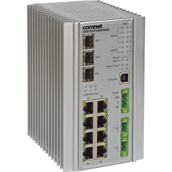 Example of Environmentally Hardened Managed Ethernet Switch 3 SFP* + 8 Electrical Ports with Optional 30 or 60 Watt PoE