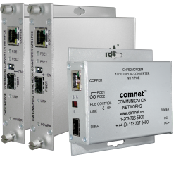 Example of 10/100 Mbps Ethernet media converter Electrical to SFP Optical with Power over Ethernet