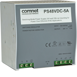 Example of Switching Mode Power Supply 240W DIN-rail Mounting for Power over Ethernet (POE) Applications and the CNGE2FE8MSPOE
